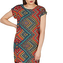 Izabel London - Dark red round neck aztec printed shift dress