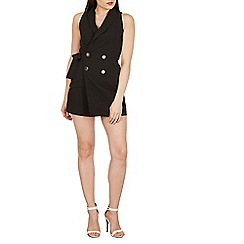 Izabel London - Black sleeveless tuxedo style playsuit