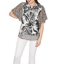 Izabel London - White flowy sleeves printed blouse top
