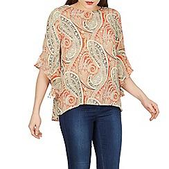 Izabel London - Orange paisley print frill top