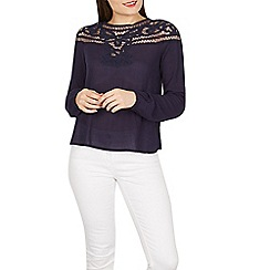Izabel London - Navy crochet detail jersey top