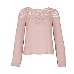Izabel London - Light pink crochet detail jersey top