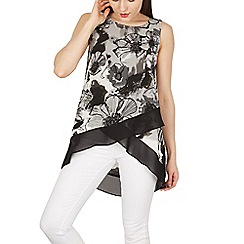 Izabel London - Grey sleeveless flower print wrap top