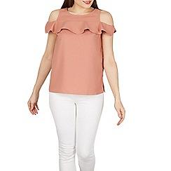 Izabel London - Light pink frilly cold shoulder top