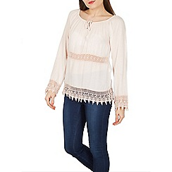 Stella Morgan - Light pink long sleeves crochet hem blouse top