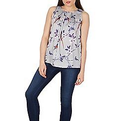 Tenki - Light grey sleeveless bird and flower print top