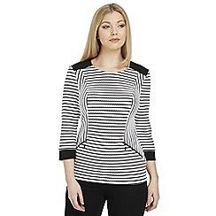 Roman Originals - Black textured stripe top