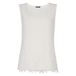 Roman Originals - Off white lace front shell top