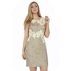 Roman Originals - Beige contrast tapework dress