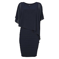 Roman Originals - Navy chiffon layer pleat dress