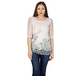 Izabel London - White printed crochet top with sheer hem