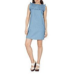 Izabel London - Blue frill trim detail denim dress