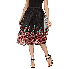 Izabel London - Black embroidered midi skirt