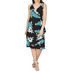 Izabel London - Black oversized floral print wrap dress