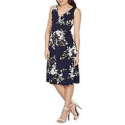 Izabel London - Navy oversized floral print wrap dress