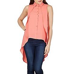 Izabel London - Dark peach sleeveless double layer blouse top