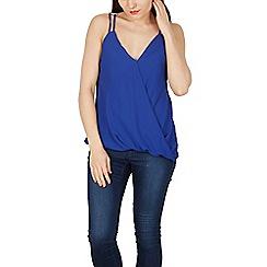 Izabel London - Blue double strap buckle detail wrap top