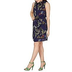 Izabel London - Navy ruffle neck detail floral mini dress