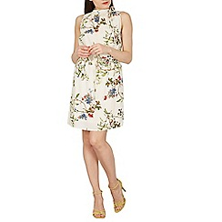 Izabel London - White ruffle neck detail floral mini dress