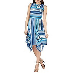 Izabel London - Blue stripe pattern hanky hem dress