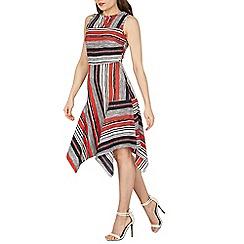 Izabel London - Navy stripe pattern hanky hem dress