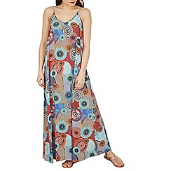 Izabel London - Multicoloured strappy round neck multi print maxi dress