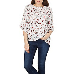 Izabel London - White floral print flare sleeves blouse