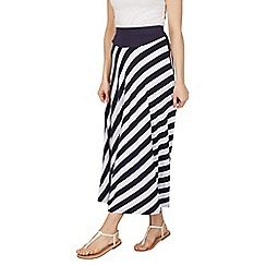 Izabel London - Navy diagonal stripe print maxi skirt