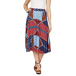 Izabel London - Multicoloured patchwork print midi skirt