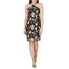 Izabel London - Black floral embroidered mesh dress