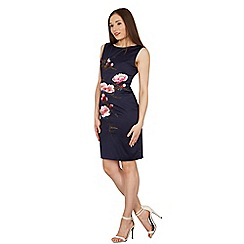 Izabel London - Navy embroidered floral shift dress
