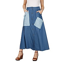 Izabel London - Blue patchwork maxi skirt