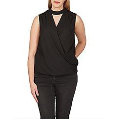 Samya - Black sleeveless wrap style choker top