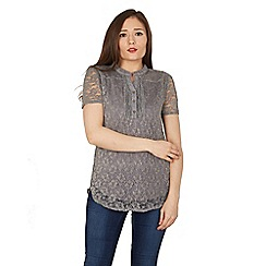 Solo - Grey lace pleated top