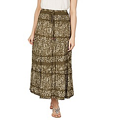 Apricot - Khaki floral skirt