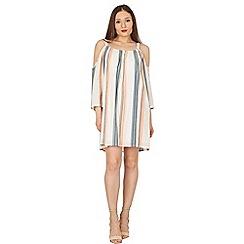 Apricot - Cream stripe print cold shoulder dress