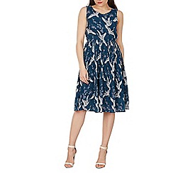 Tenki - Turquoise sleeveless bird print midi dress