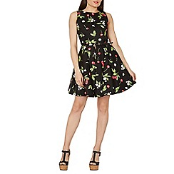 Izabel London - Black floral print belted fit & flare dress