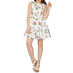 Izabel London - White floral print belted fit & flare dress