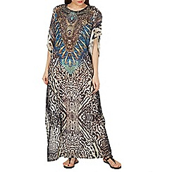 Izabel London - Brown abstract print kaftan dress