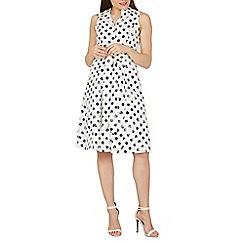 Izabel London - Navy polka dot printed swing dress
