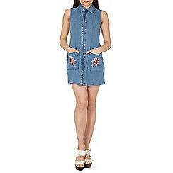 Izabel London - Blue embroidered pocket denim dress