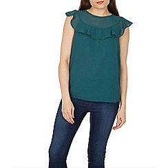 Izabel London - Green frill neck detail chiffon layered top