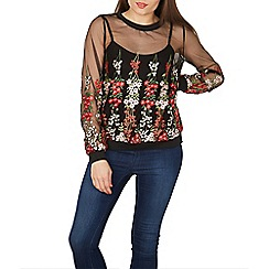Izabel London - Black floral embroidered sheer top
