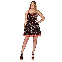 Samya - Black plus size cotton cherry print dress