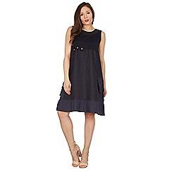 Apricot - Navy flower applique dress