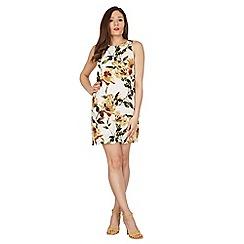 Apricot - Cream hibiscus print shift dress