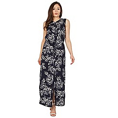 Apricot - Navy leaf print maxi dress