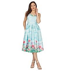 Lindy Bop - Blue Carola blossom swing dress