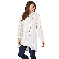 Blue Vanilla - White lace and ladder detail tunic top